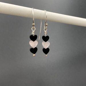 Rose Quartz and Onyx heart earrings
